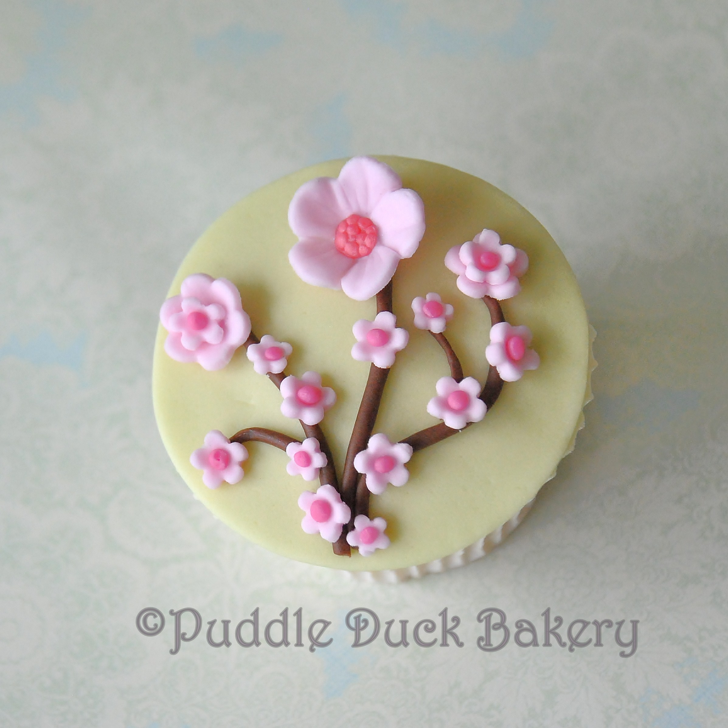 Delicate flowers on a cupcake
