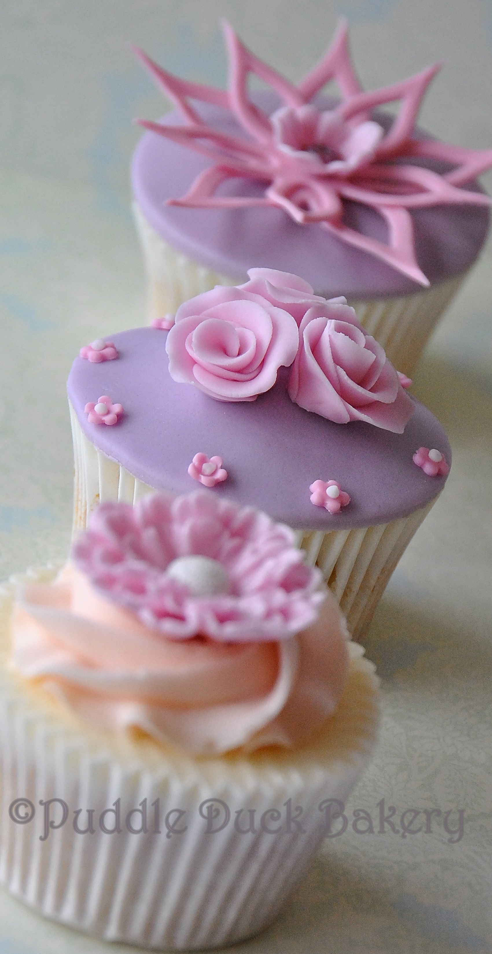 Beautiful flowers on a cupcake
